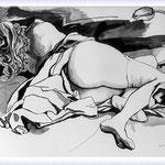 Renato Guttuso - Donna sdraiata e tulipano, 1985