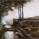 Piet Mondrian - Paesaggio con canale - 1895 - Acquerello