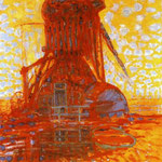 Piet Mondrian - Mulino a vento alla luce del sole - 1908 - Olio su tela