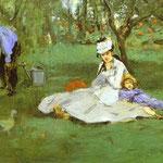 Edouard Manet - La famiglia Monet nel giardino - 1874 - Olio su tela