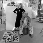 Willem De Kooning with daughter Lisa and wife Elaine December