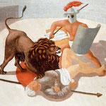 Gladiadores y león