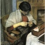 Elisabeth Gerhardt che cuce