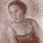 Studio per ritratto della moglie. Disegno a matita (cm 65 x 54) eseguito da Mario Radice a Zàrate (Argentina) nel 1929.