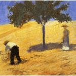 Albero in campo di grano