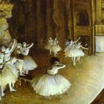 Prova Balletto sul palco - Olio su tela