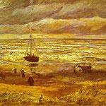 Spiaggia con figure e mare con una nave - 1882 - Olio su carta su cartone