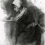 Piet Mondrian - Ragazza che scrive - 1892/1895 - gesso nero su carta