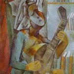 Donna che suona il mandolino - 1909 - Olio su tela