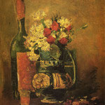 Vase with Carnations and Bottle