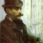 Edouard Manet - L'uomo in un cappello rotondo (Alphonse Maureau) - 1878 - Pastello su carta