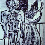 Minotauro e sua moglie. 1937. Olio su tela.