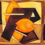 Composizione in arancio, 1938, tempera, cm 1Ox 13.