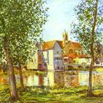 Moret-sur-Loing al sole del mattino - 1888 - Olio su tela