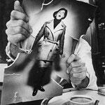 Pierre-André BOUTANG déchirant une photo de mode, 1963