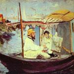 Edouard Manet - Claude Monet che dipinge sulla sua barca - 1874 - Olio su tela