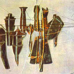 Nine Malic Molds. 1914-15. 64 x 102 cm. Oil, lead wire, lead foil on glass between two glass plates. Private collection.