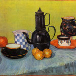 Still Life - Blue Enamel Coffeepot, Earthenware and Fruit, 1888