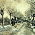 Road with Pollarded Willows and a Man with a Broom, 1881