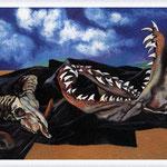 Renato Guttuso - Bucranio, mandibola di pescecane e drappo nero contro il cielo, 1984