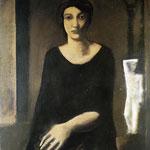 Donna in un Interno Architettonico con Statua, 1925