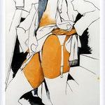 Renato Guttuso - Donna in piedi con giarrettiera e con calze bianche, 1985