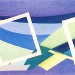 Comp. 3 Q.B., 1971, olio su tela, cm 35 x 100.
