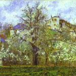 Orto e alberi in fiore, primavera, Pontoise - 1877 - Olio su tela