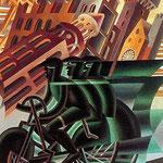 Il ciclista attraversa la città 1945