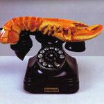 Aragosta e Telefono - 1938 - Metallo verniciato, gesso, gomma e carta