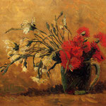 Vase with Red and White Carnations on a Yellow Background, 1886