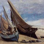 Barche da pesca sulla spiaggia di Deauville - 1866