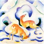 Cervi sulla neve