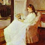 Sorella dell'artista a una finestra - 1869 - Olio su tela
