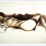 Renato Guttuso - Nudo sdraiato con calze nere, 1980