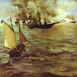 Edouard Manet - La battaglia del Kearsarge e dell'Alabama - 1864 - Olio su tela