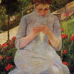 Young Woman Sewing in a Garden, 1886