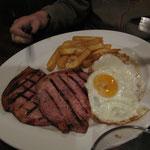 Gammon steak (jambon), free range eggs & chips (frites)