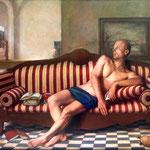 La visita, óleo sobre lino, 116 x 146 cm. Colección particular