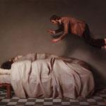 Los durmientes, óleo sobre lino, 46 x 55 cm.