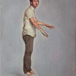 Hombre levitando, óleo sobre lino, 27 x 22 cm.