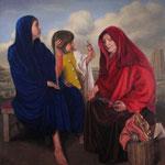 Las Parcas, óleo sobre lienzo, 130 x 130 cm. Colección particular