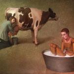 Las vacas viejas no dan leche, óleo sobre arpillera, 146 x 162 cm.
