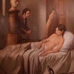 Dánae y la Máquina, óleo sobre lino, 114 x 89 cm.