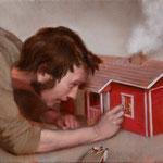 La casa de invitados, óleo sobre lino, 27 x 35 cm.