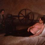 Dánae y la Máquina (boceto), óleo sobre lino, 33 x 41 cm.