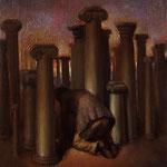Campo de columnas, óleo sobre lino, 27 x 22 cm.