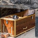 Chien installé dans un cercueil