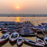 Soleil couchant sur le Gange