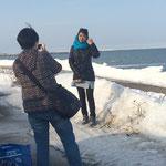 中国からの家族網走流氷